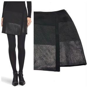 ۥ WHBM Mixed Texture Wrap Mini Skirt Black F16